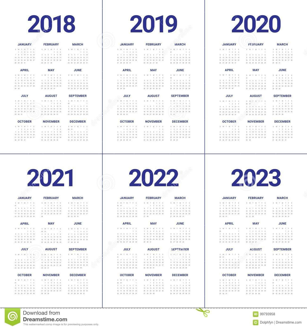 Year 2018 2019 2020 2021 2022 2023 Calendar Vector Stock Vector - Illustration Of 2023, Month-3 Year Calendar 2021 To 2023