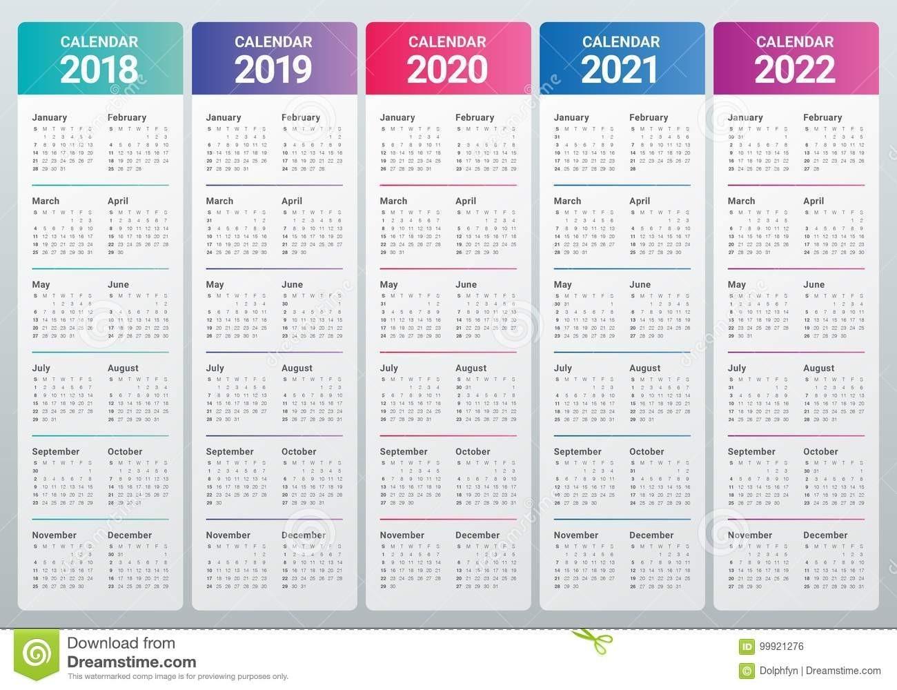 Year 2018 2019 2020 2021 2022 Calendar Vector Stock Vector - Illustration Of 2022, 2020: 99921276-3 Year Calendar 2021