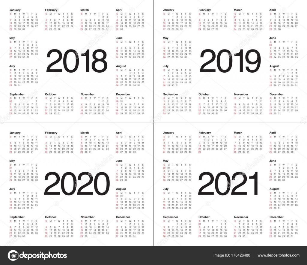 Year 2018 2019 2020 2021 Calendar Vector — Stock Vector © Dolphfynlow #176426480-3 Year Calendar 2021