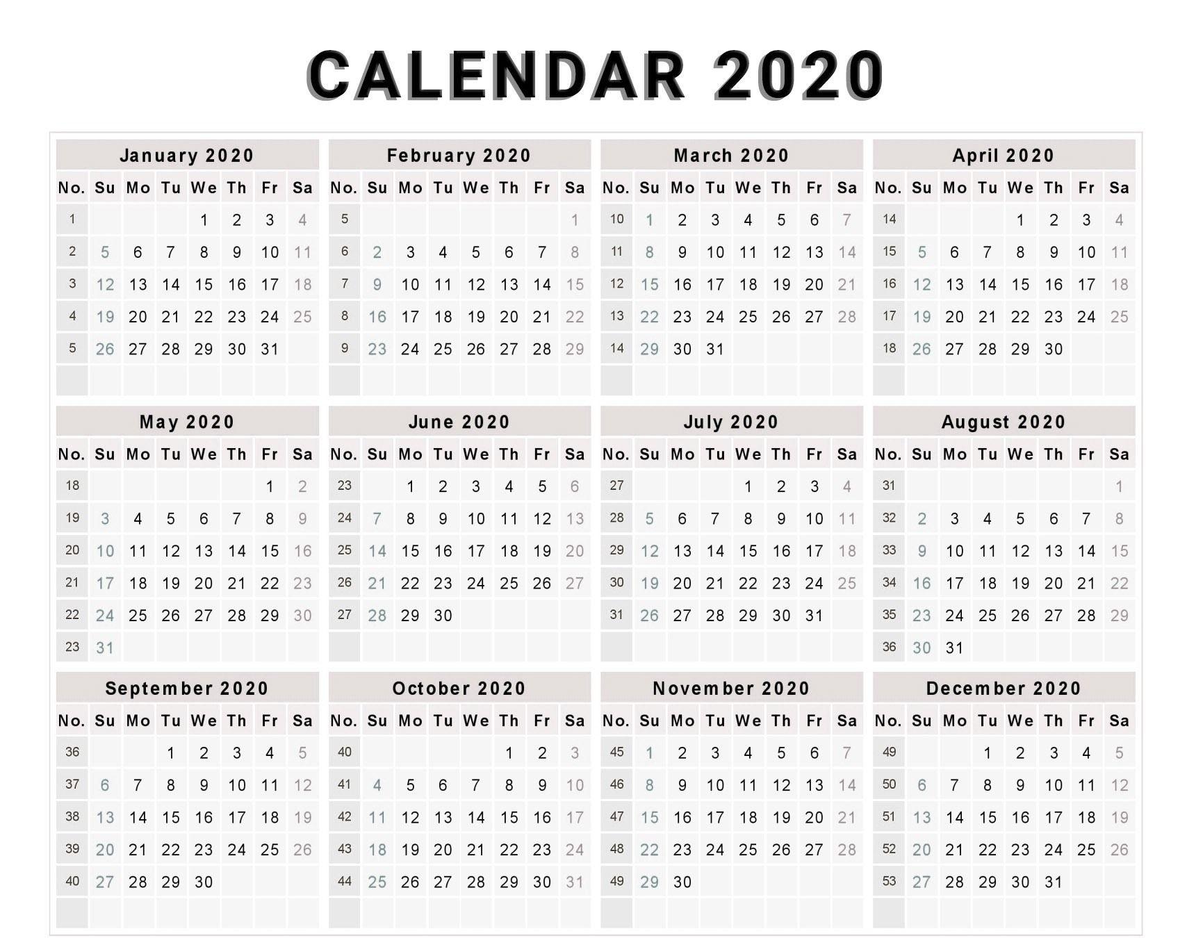 Year Calendar Numbered Weeks | Ten Free Printable Calendar 2020-2021-Fill In Printable Calendar 2021