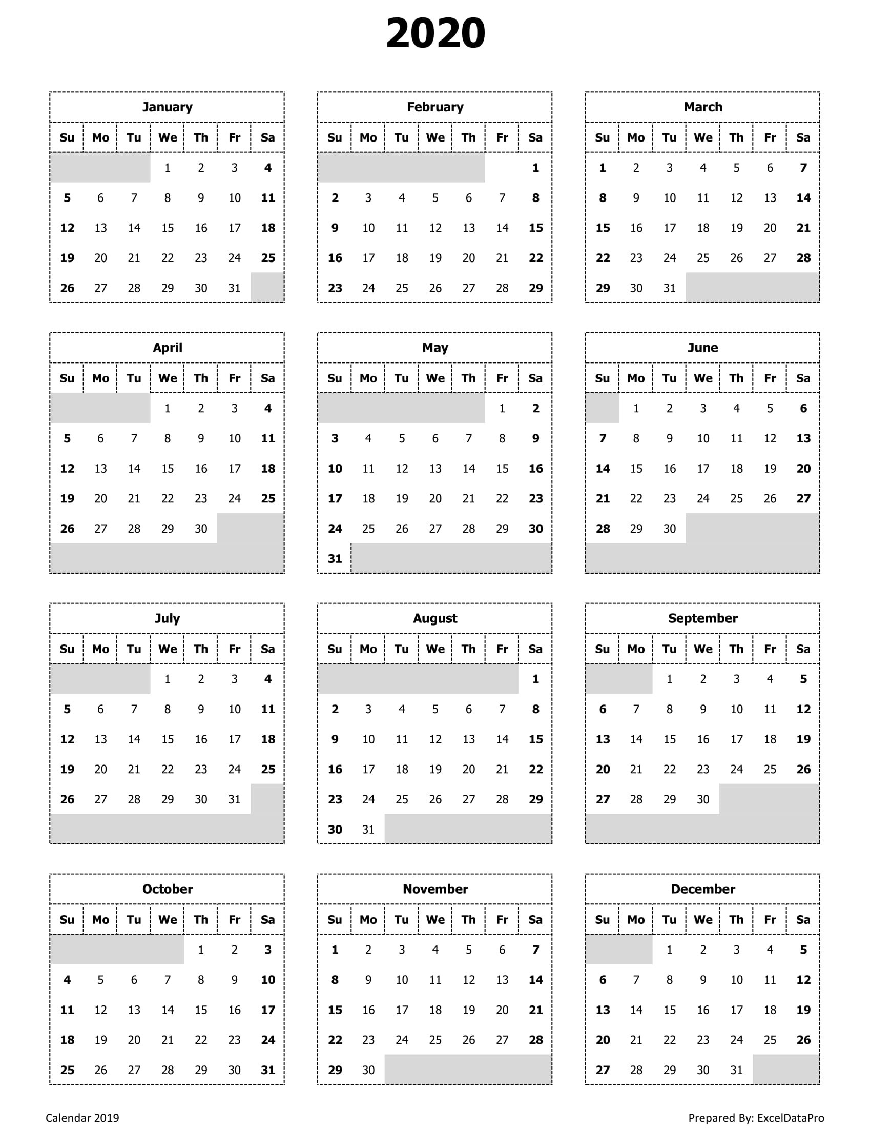 Year View Calendar Printable   Ten Free Printable Calendar 2020-2021-2021 Yearly Calendar With Boxes