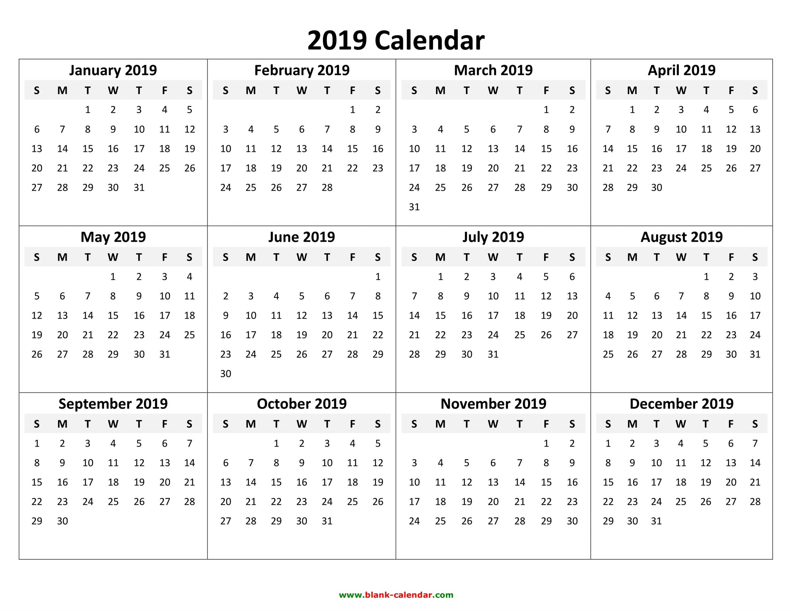 Yearly Calendar 2019   Free Download And Print-Print Free 2021 Calendar Without Downloading