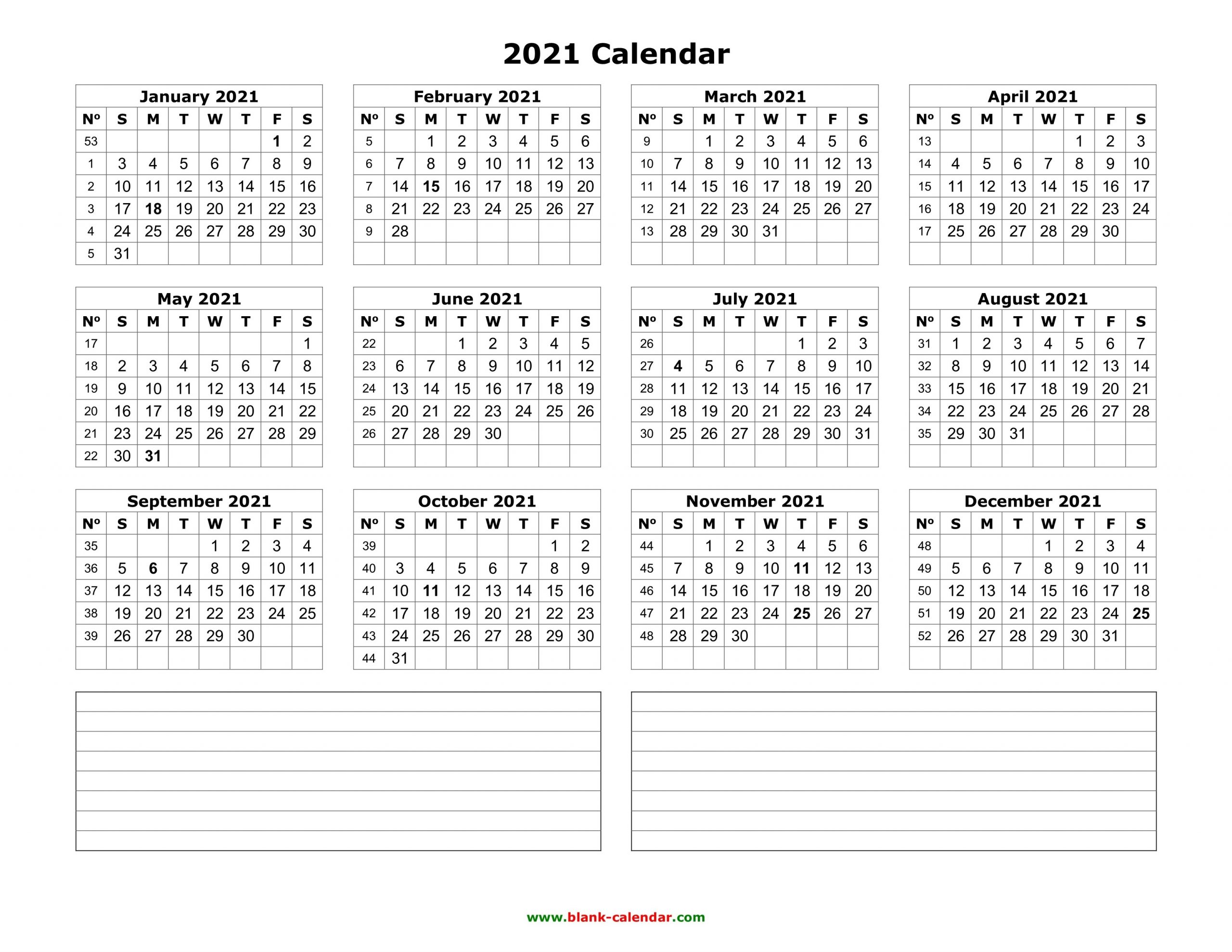 Yearly Calendar 2021 | Free Download And Print-2021 Print Free Calendars Without Downloading