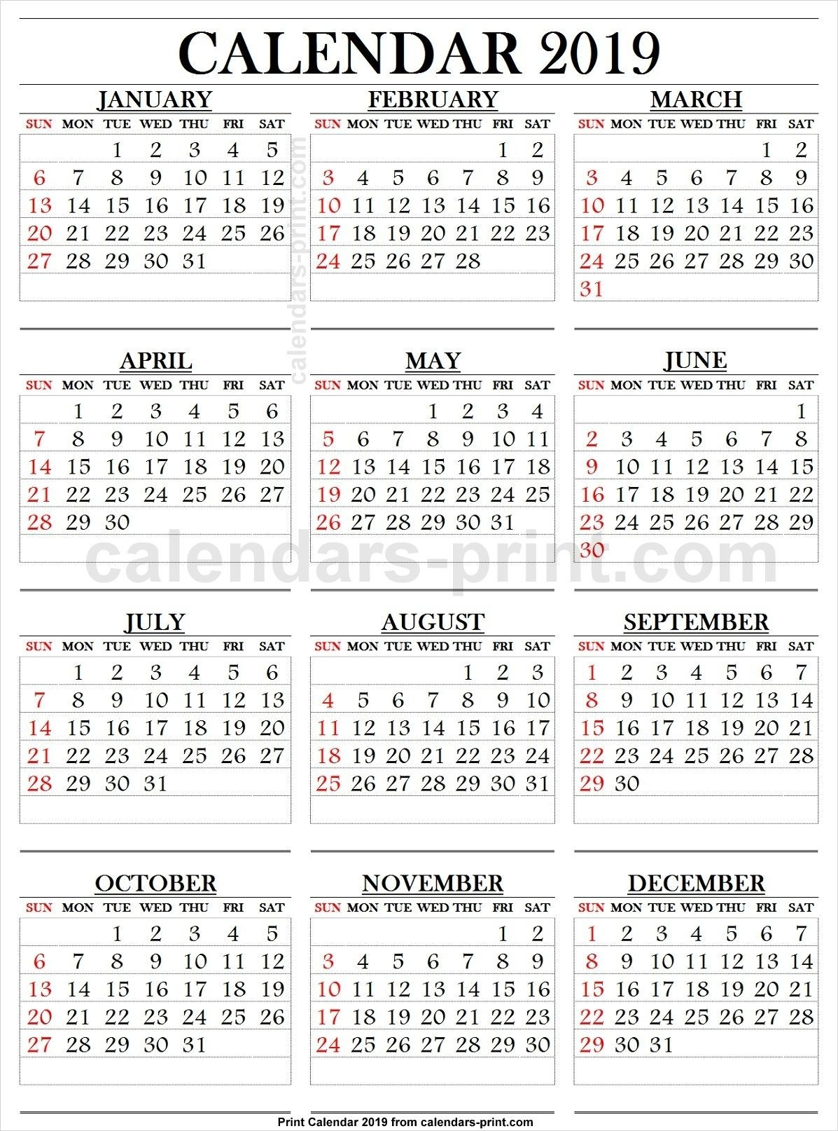 2019 Calendar Large Numbers   Printable Calendar Large-Printable Calendars Large Numbers