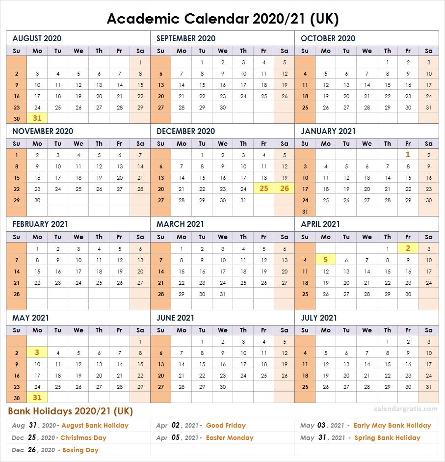 2020-2021 School Calendar Template | Academic Calendar 2020-2021 School Holiday Calender