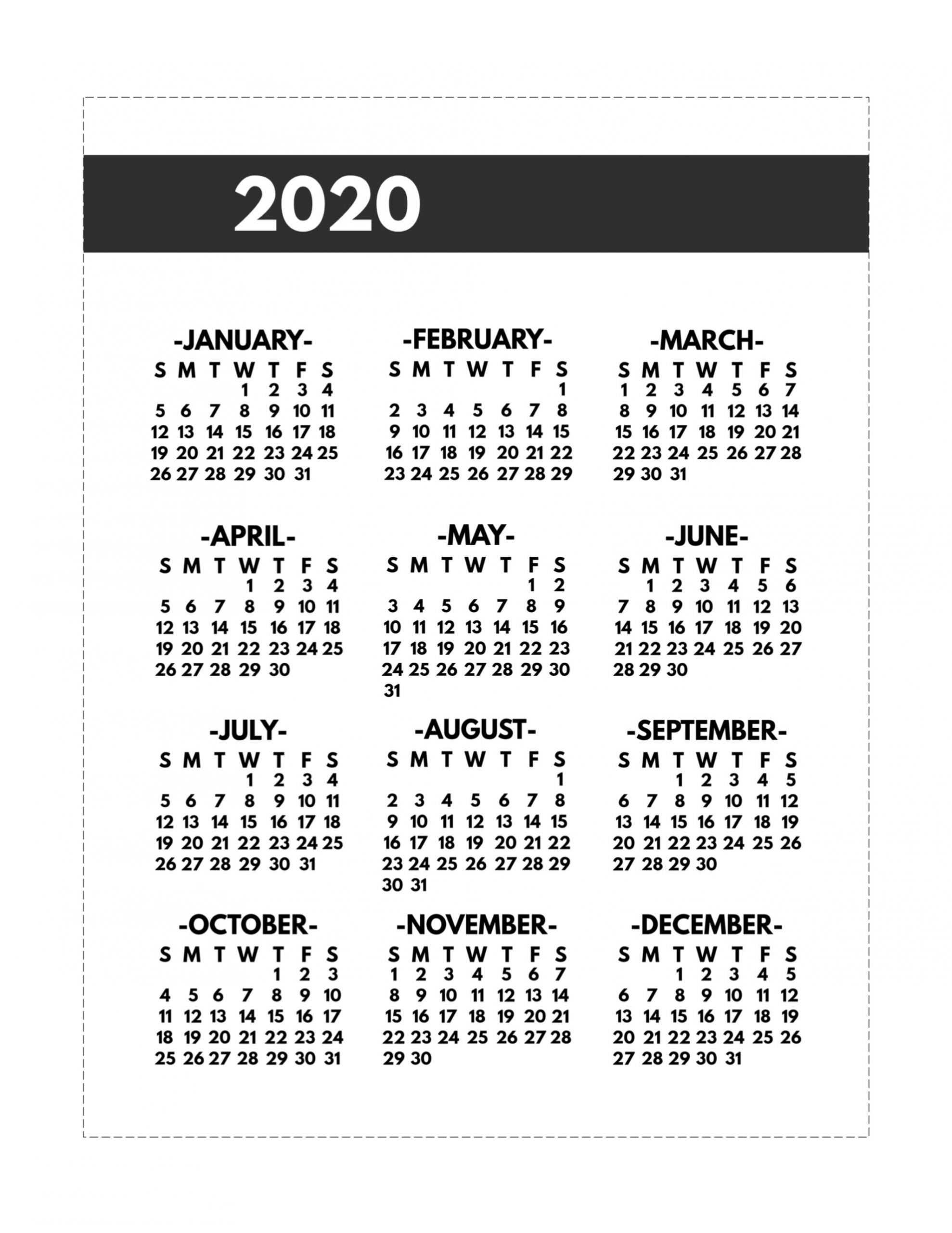 2020 Printable One Page Year At A Glance Calendar | Paper-Printable 2021 Weekly Monthly 81/2 X 11