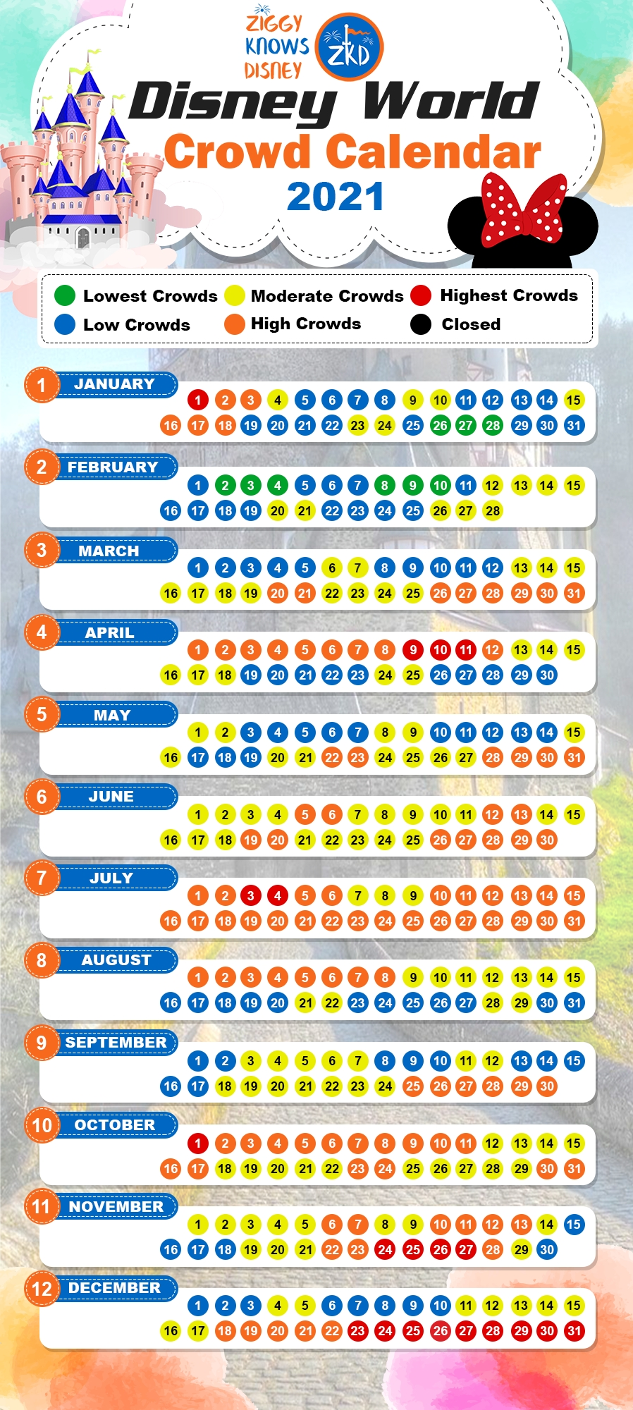 2021 & 2022 Disney World Crowd Calendar   Avoiding The Crowds-Disney World Waiting Time Calendar 2021