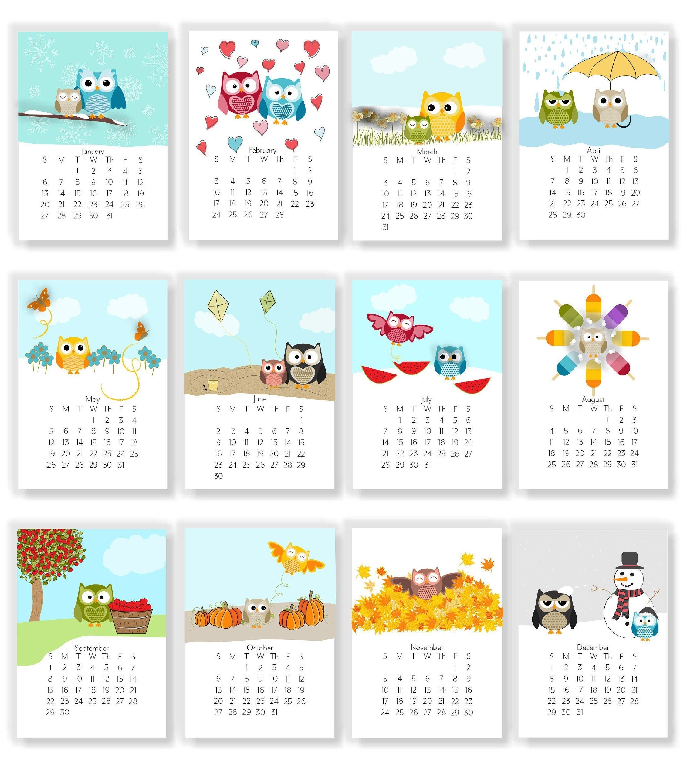 2021 Adorable Owl Monthly Calendars Instant Download | Etsy-4X6 Printable Calendar 2021 Free