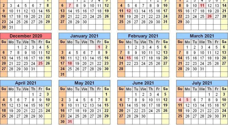 2021 And 2020 School Calendar Printable Free For Class-2021 School Holiday Calender