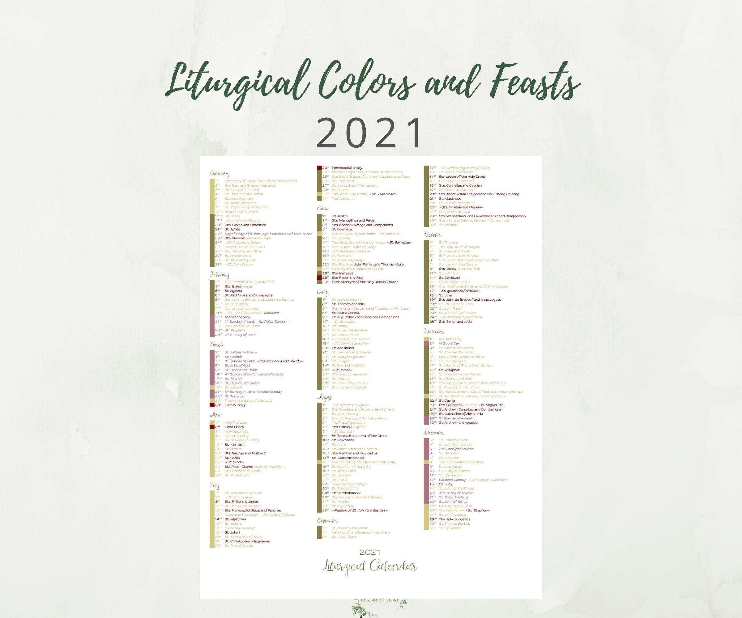 2021 At A Glance Catholic Liturgical Calendar-Catholic Church Year 2021