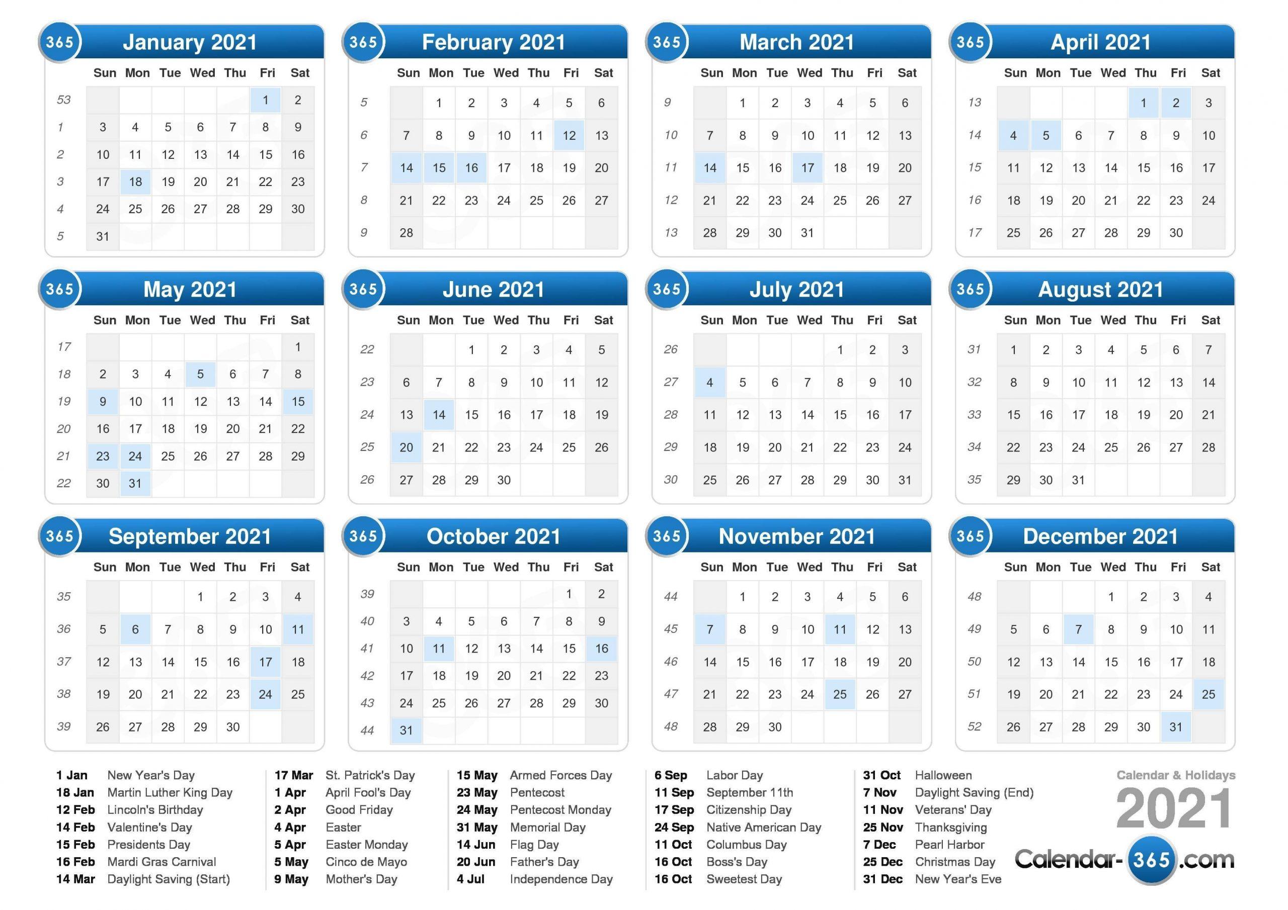 2021 Calendar-2021 Vacation Schedule