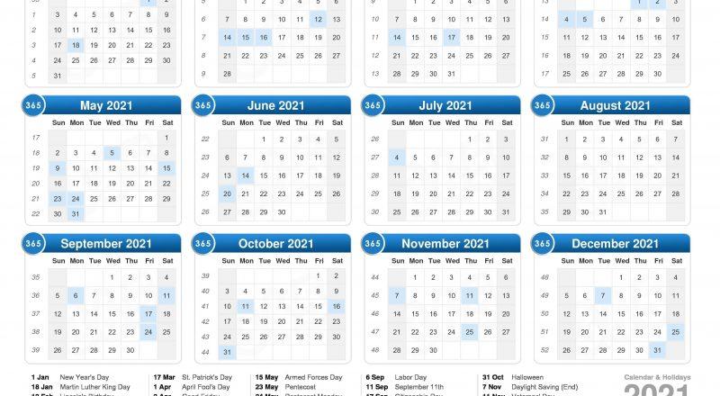 2021 Calendar-European Calendar 2021