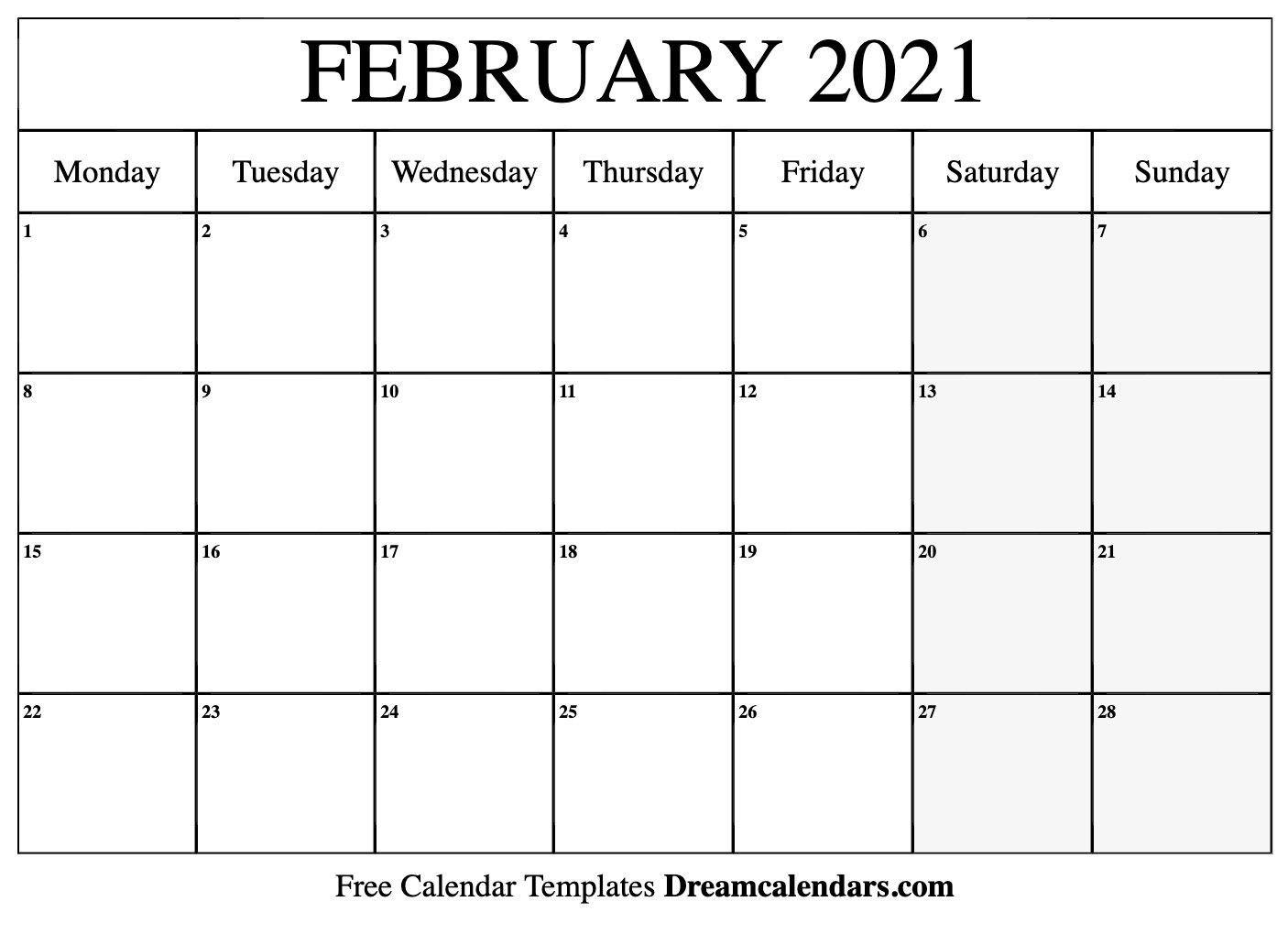 2021 Calendar February Template | Calendar Word, 2021-Online Calendar 2021