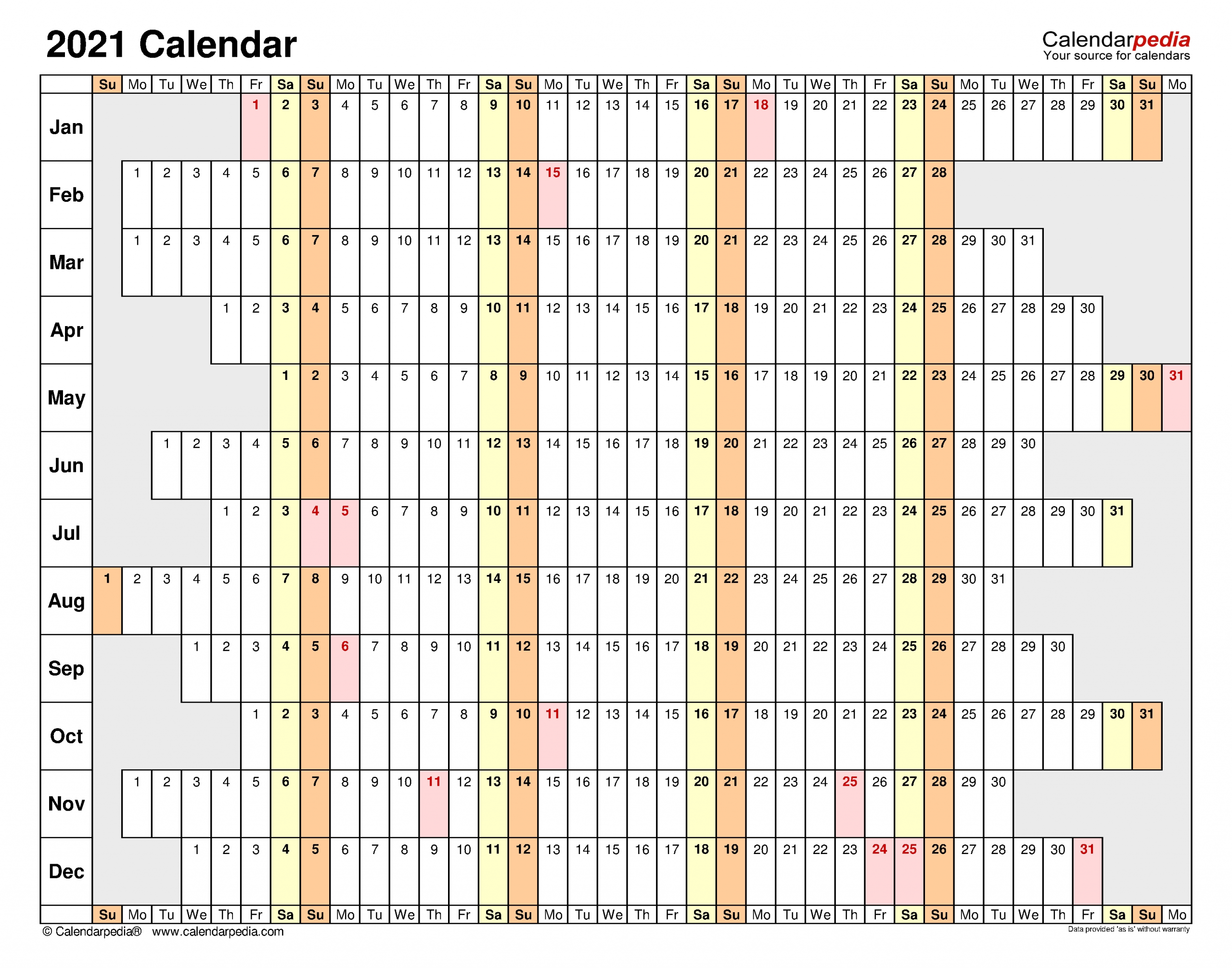 2021 Monthly Vacation Planner Excel   Calendar Template ...