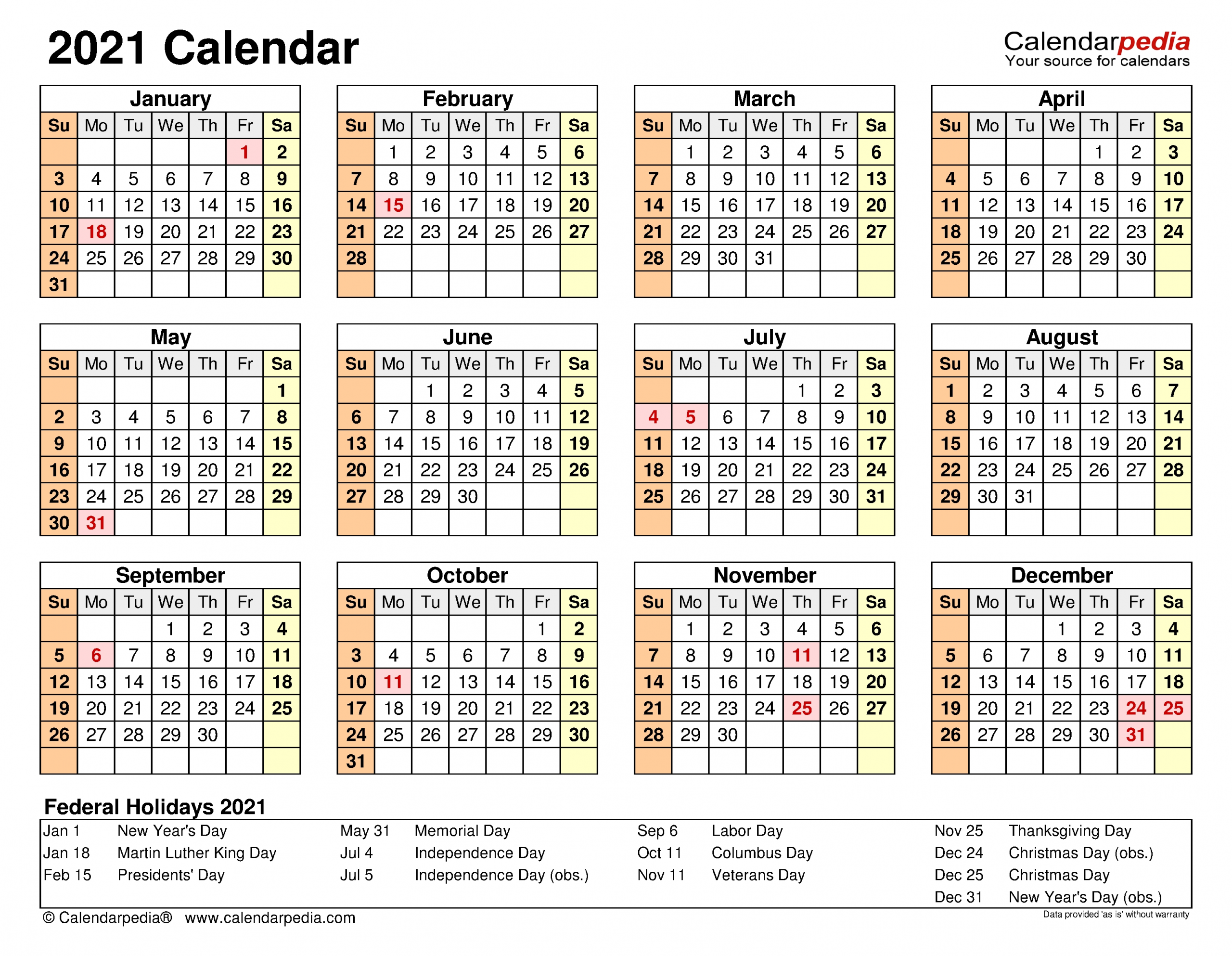 2021 Calendar - Free Printable Excel Templates - Calendarpedia-Attendance Calendars 2021