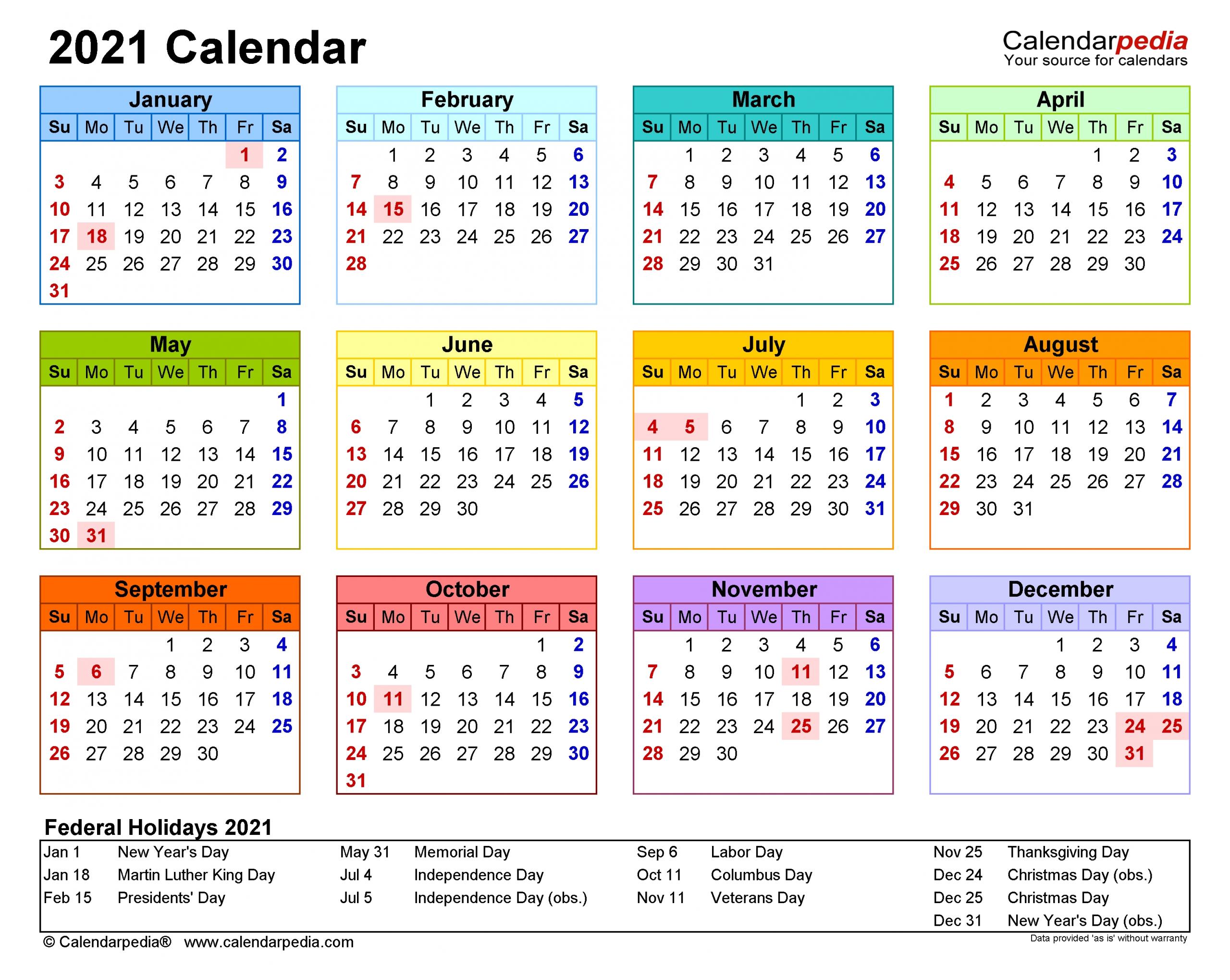 2021 Calendar - Free Printable Excel Templates - Calendarpedia-Download 2021 Philippine Blank Calendar In Excel