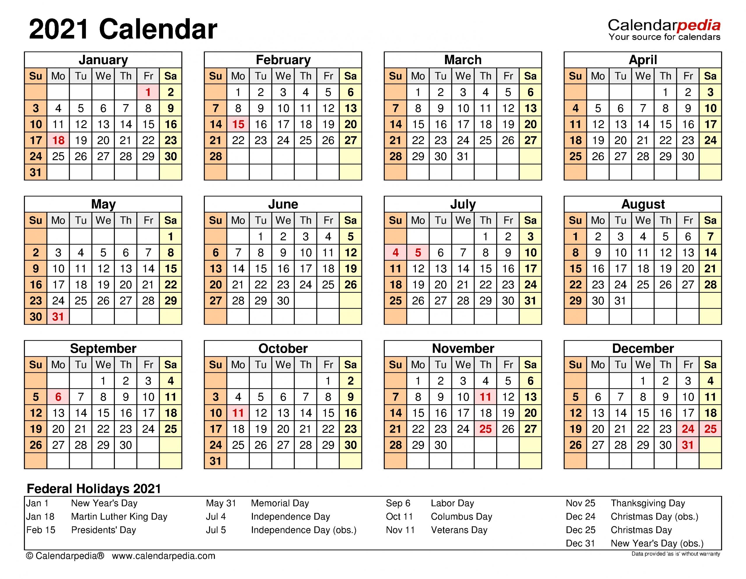 2021 Calendar - Free Printable Excel Templates - Calendarpedia-Microsoft 2021 Calendar Templates Free