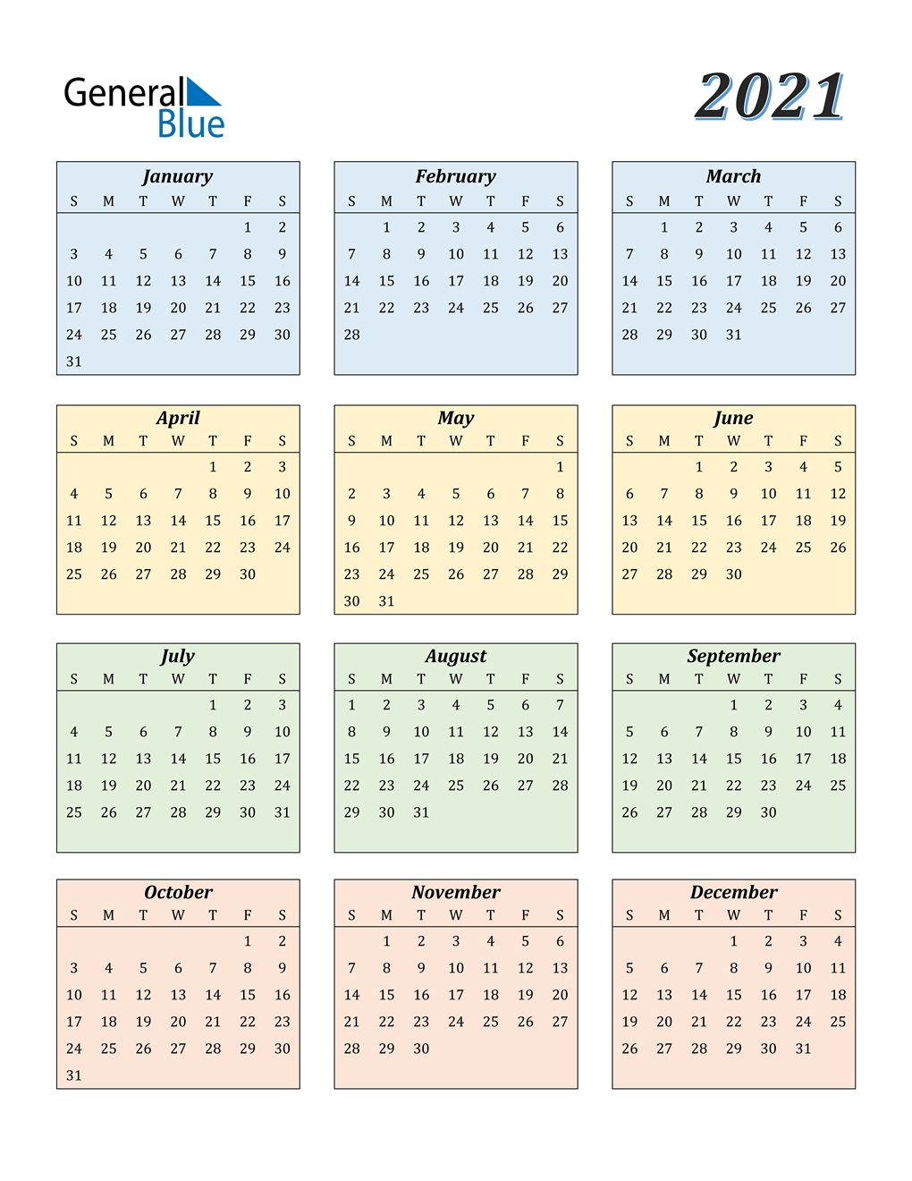 2021 Calendar (Pdf, Word, Excel)-Free Printable Calendar 2021 Without Download