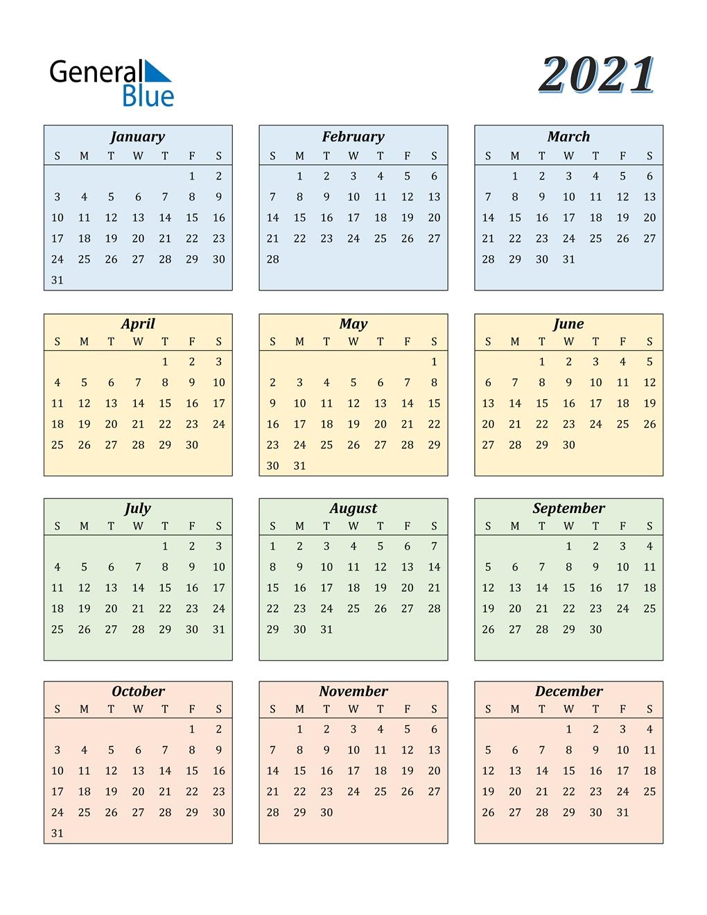 2021 Calendar (Pdf, Word, Excel)-Microsoft Printable Calendars 2021