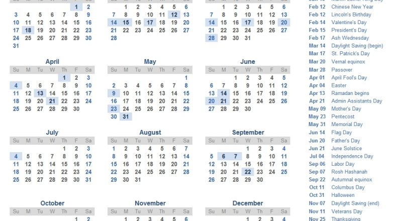 2021 Calendar Templates And Images-2021 Calendar With Holidays Listed