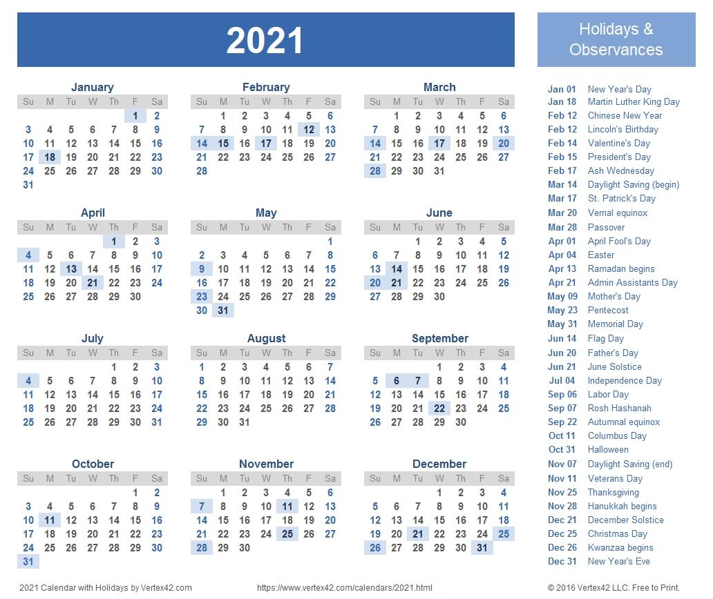 2021 Calendar Templates And Images-2021 Year Calendar Printable