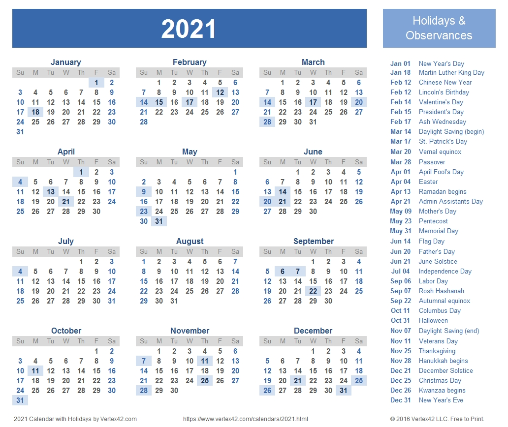2021 Calendar Templates And Images-Holiday Spreadsheet 2021