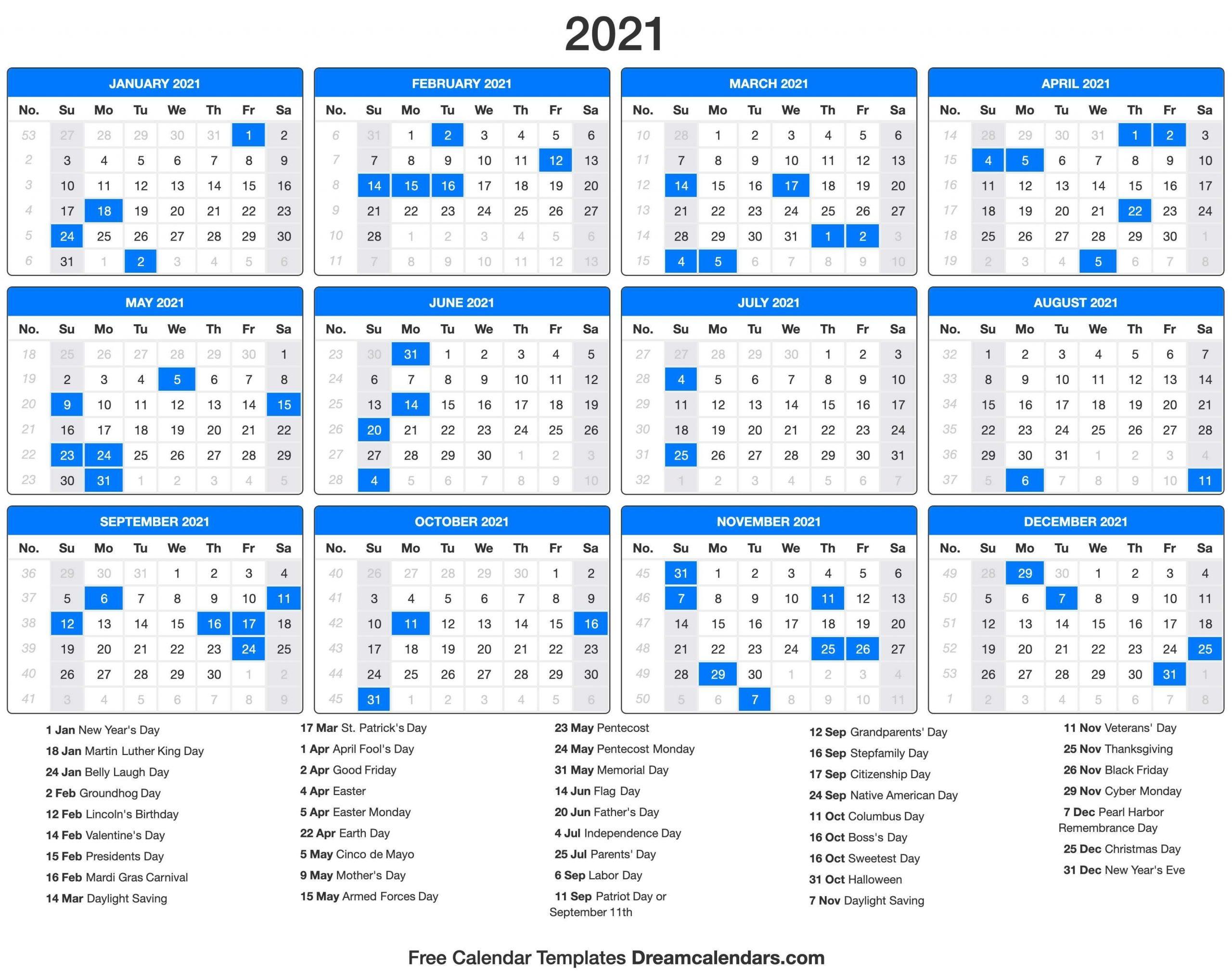 2021 Calendar With Holidays - Dream Calendars | Holiday-2021 School Holiday Calender