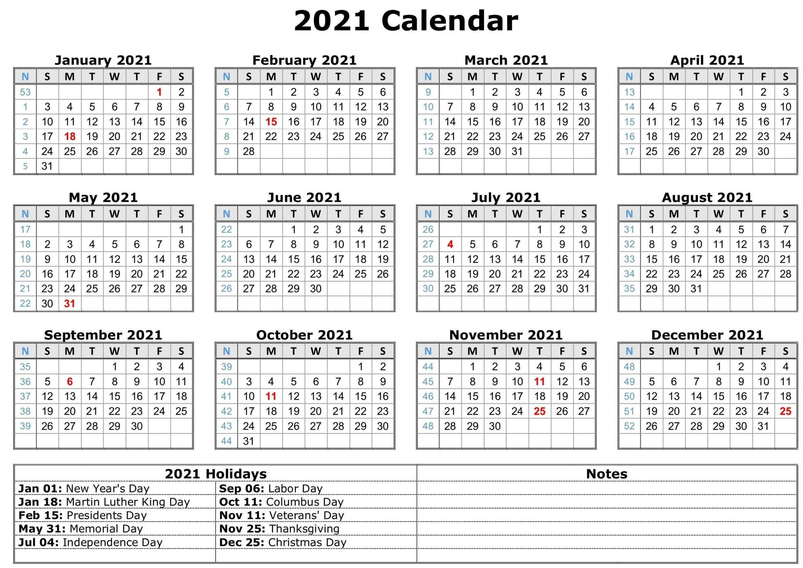 2021 Calendar With Holidays   Free Calendar Template-Bill Pay Monthly Calendar 2021