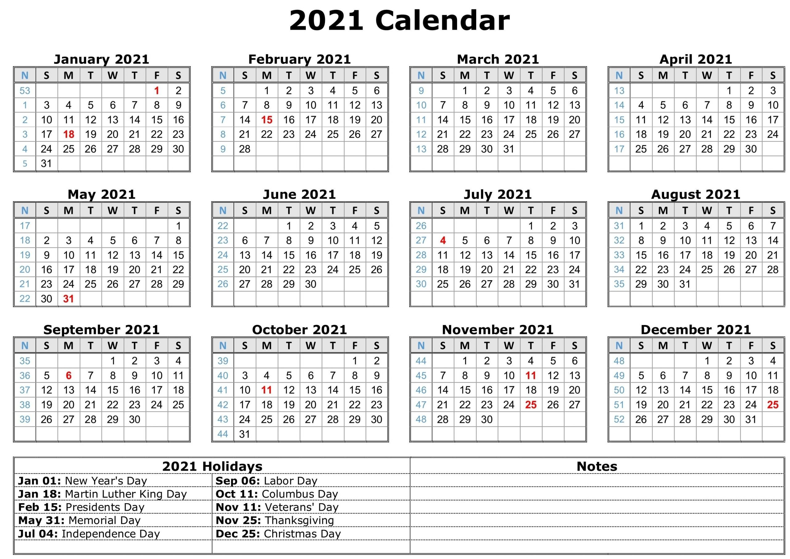 2021 Calendar With Holidays | Free Calendar Template-Print Philippine 2021 Calendars With Holiday