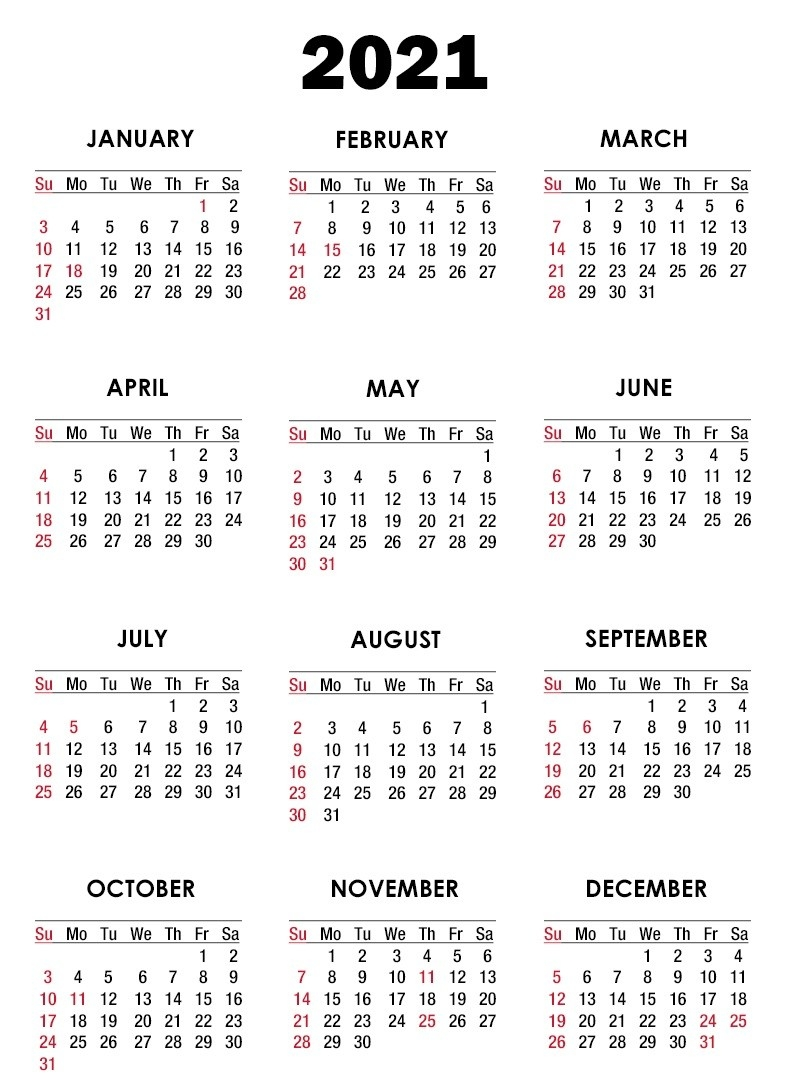 2021 Editable Yearly Calendar Templates In Ms Word, Excel-2021 Year Calendar Printable