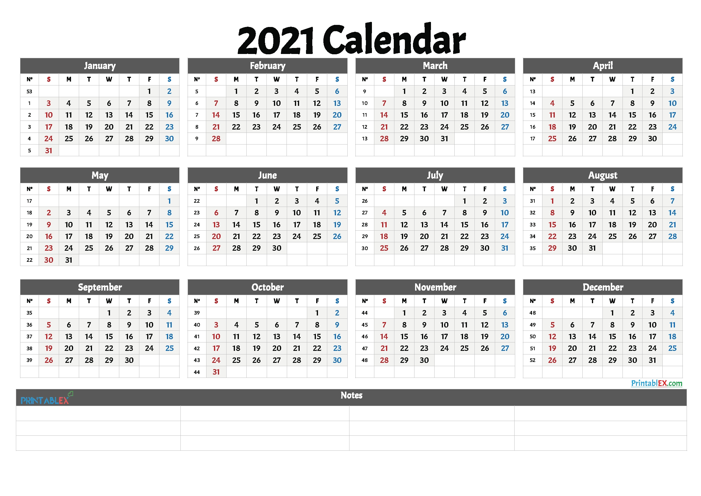 2021 Free Printable Yearly Calendar With Week Numbers – Free-Printable Calendar 2021