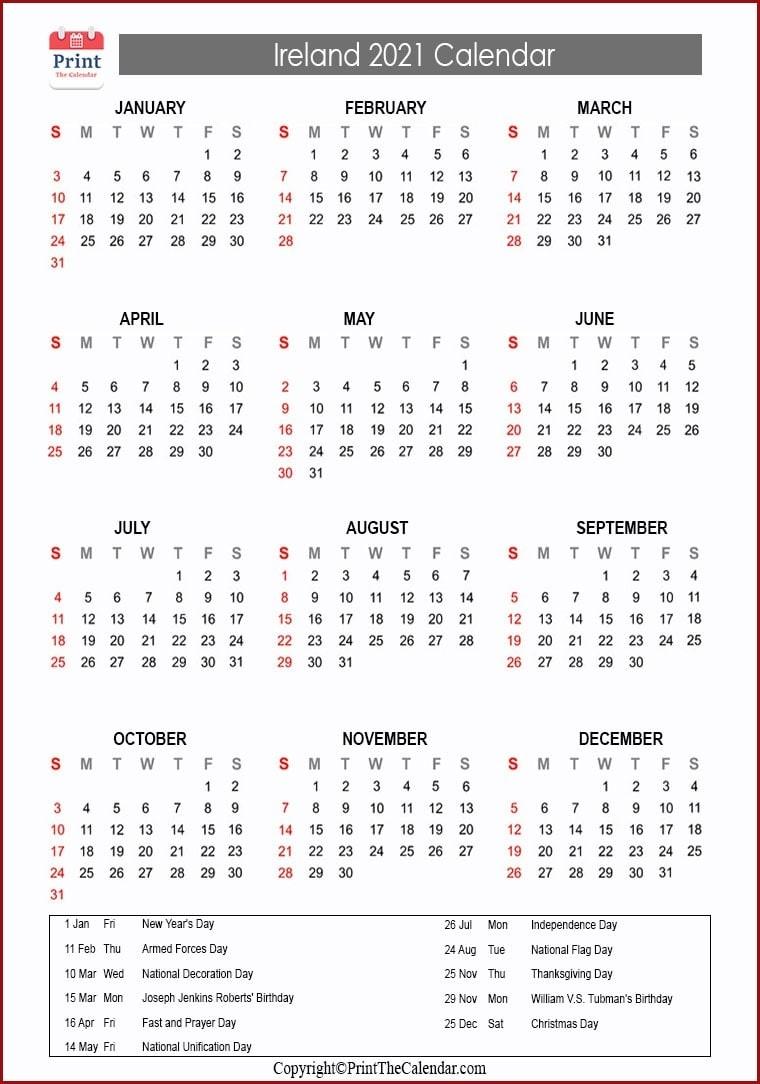 2021 Holiday Calendar Ireland | Ireland 2021 Holidays-Bank Holidays Calendar 2021