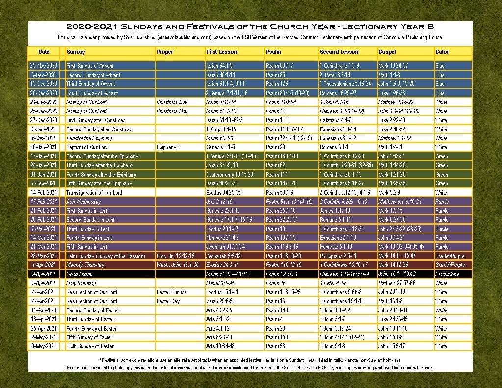 2021 Liturgical Calendar (Year B) K-2021 | Sola Publishing-Catholic Church Year 2021