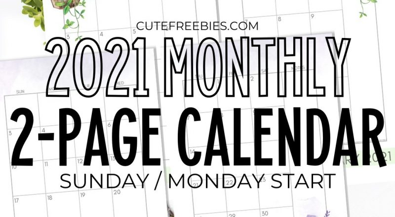 2021 Monthly Calendar Two Page Spread – Free Printable-2021 Monthly Calendar Printable 2 Page
