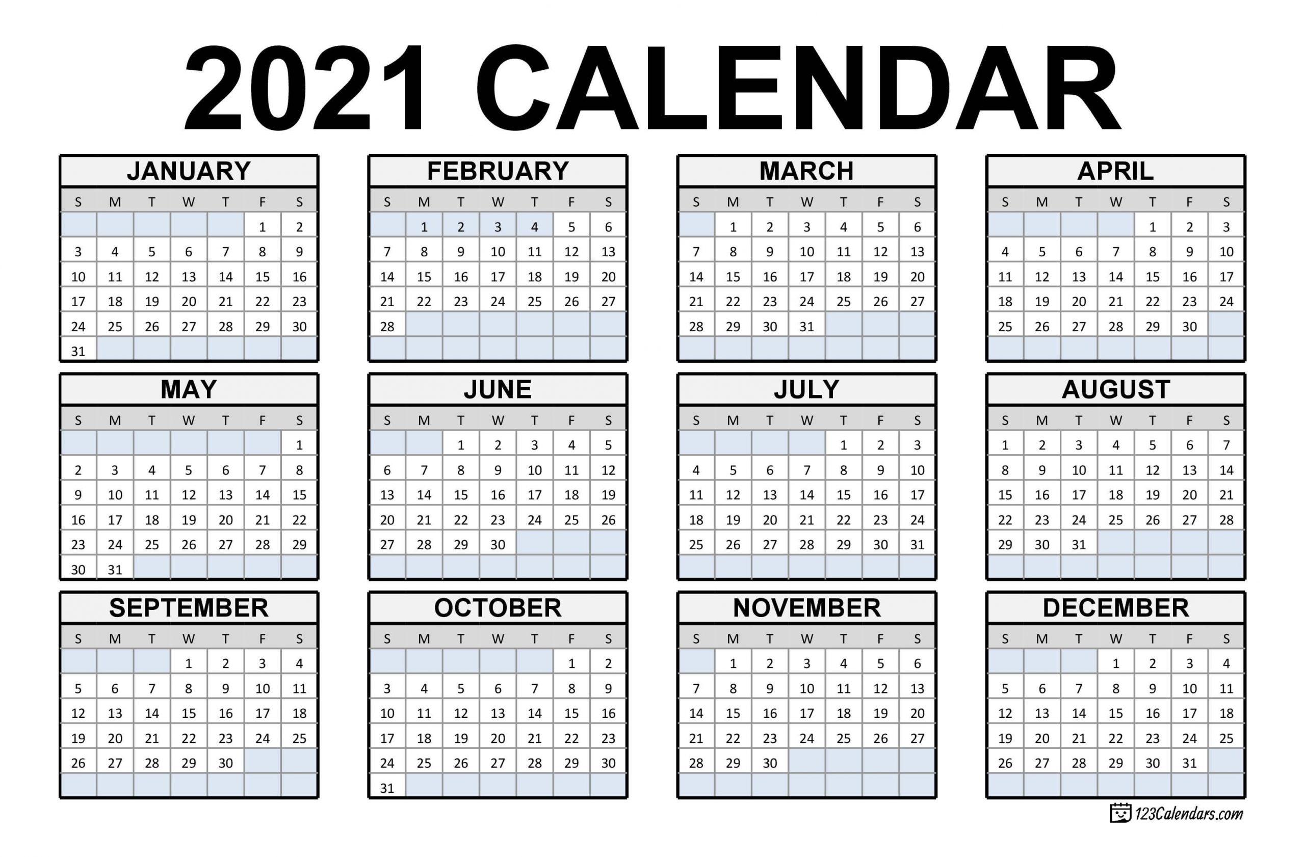 2021 Printable Calendar   123Calendars-Fill In Blank Calendar 2021