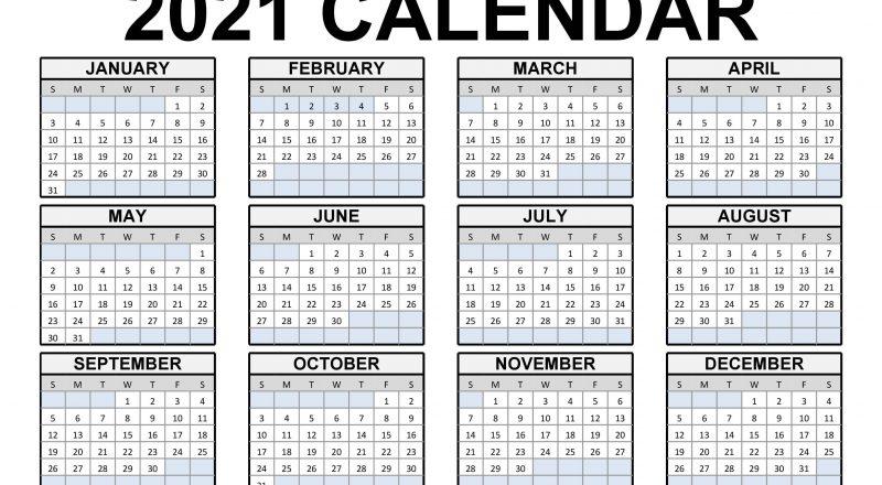 2021 Printable Calendar | 123Calendars-Fill In Calendar For 2021