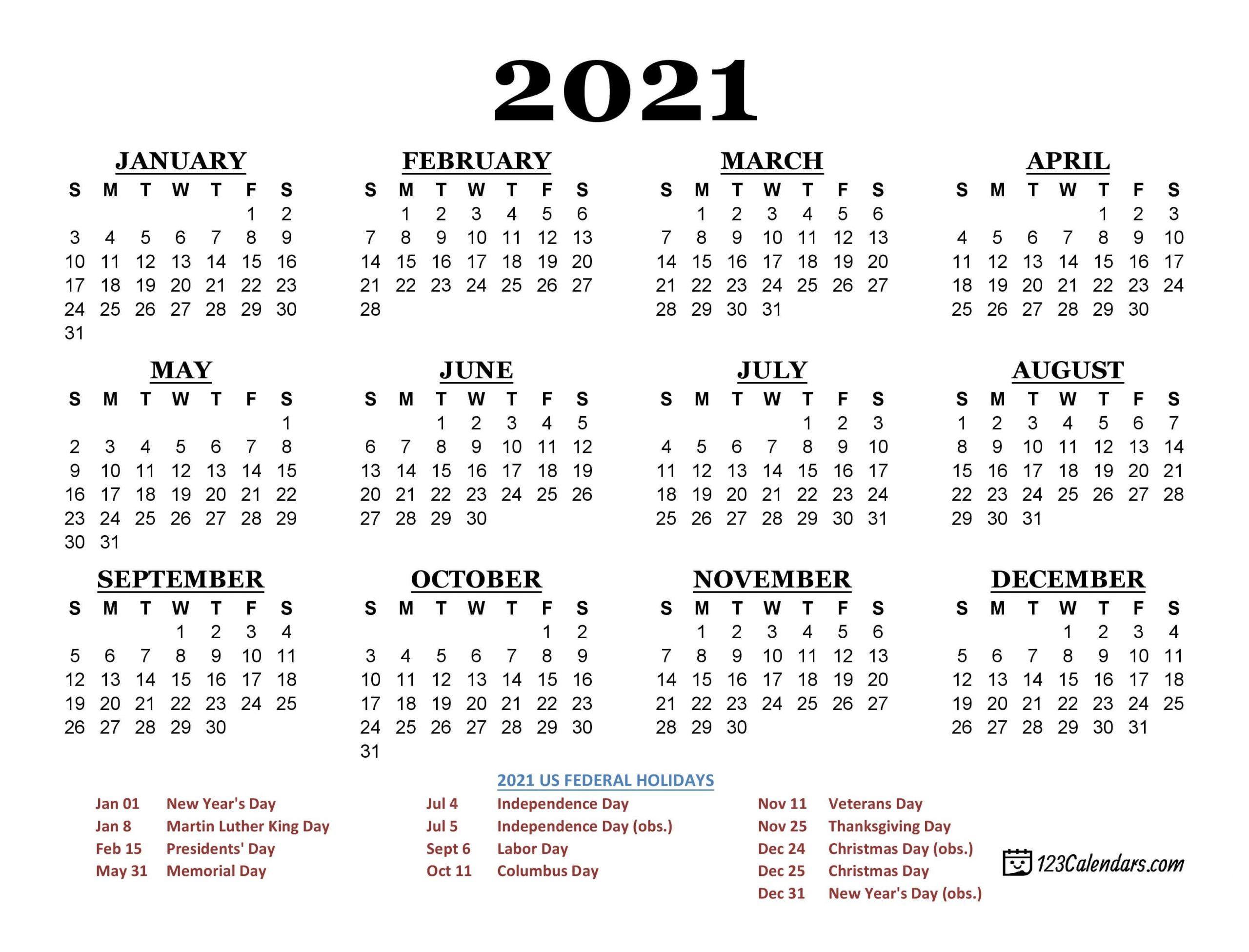 2021 Printable Calendar | 123Calendars-Print Philippine 2021 Calendars With Holiday