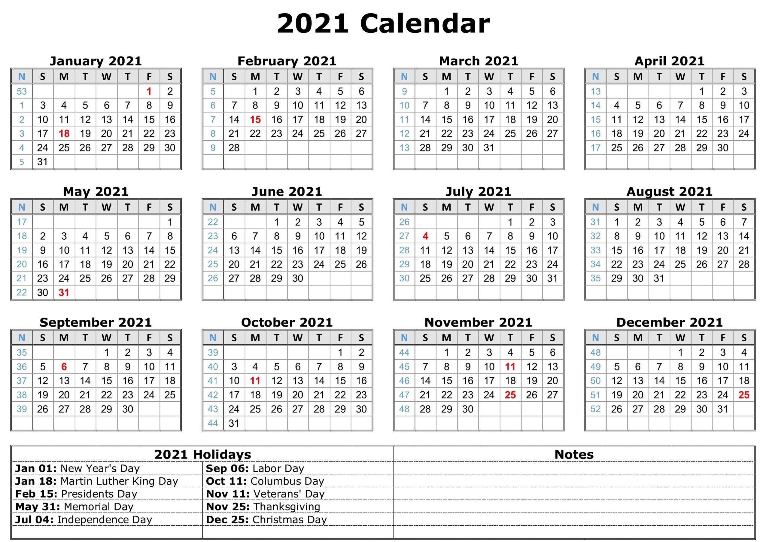 2021 Printable Calendar With Holidays | Printable Yearly-2021 Vacation Speadsheet