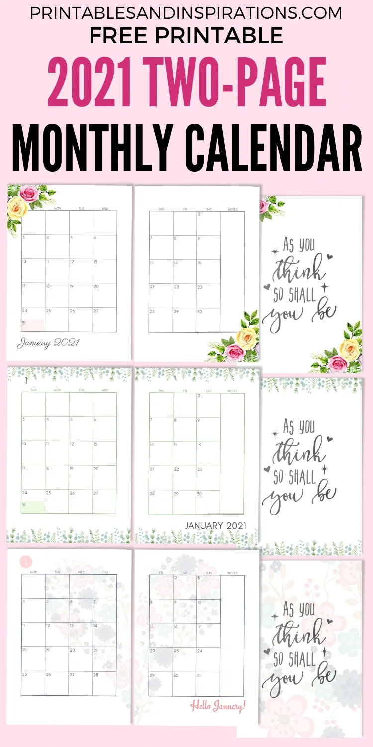 2021 Two Page Monthly Calendar Template - Free Printable-Printable Monthly Diaries 2021