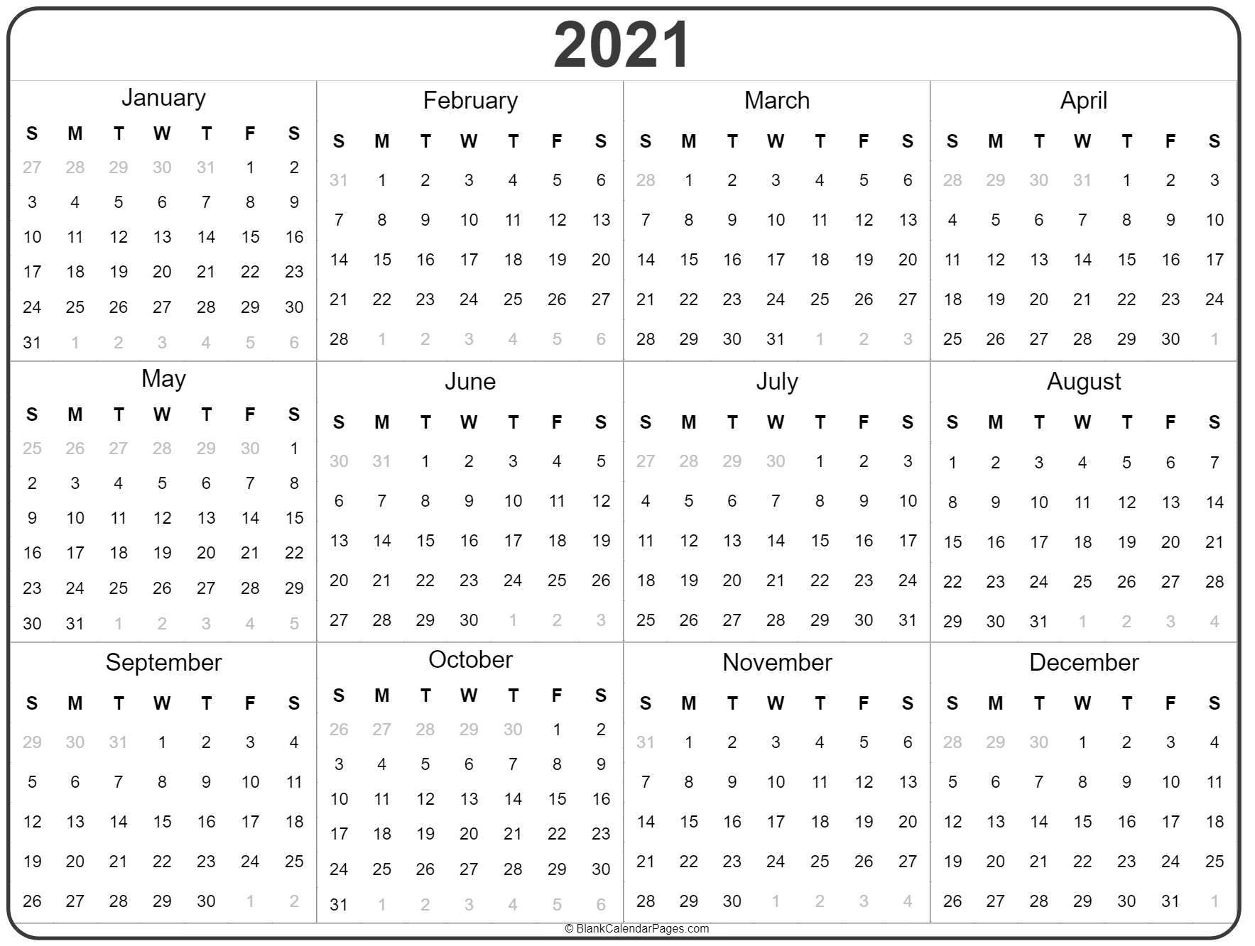 2021 Year Calendar | Yearly Printable-2021 Year Calendar Printable