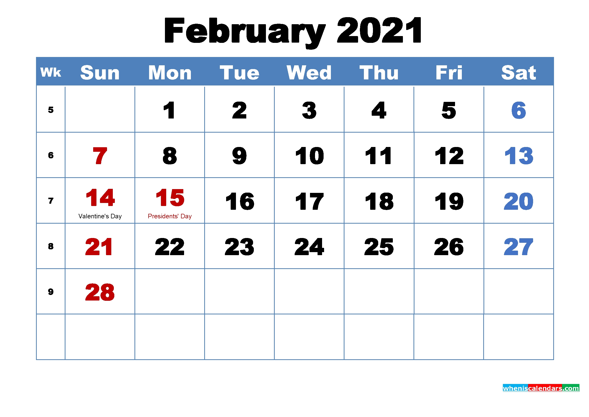30 Free February 2021 Calendars For Home Or Office - Onedesblog-2021 Vacation Schedule