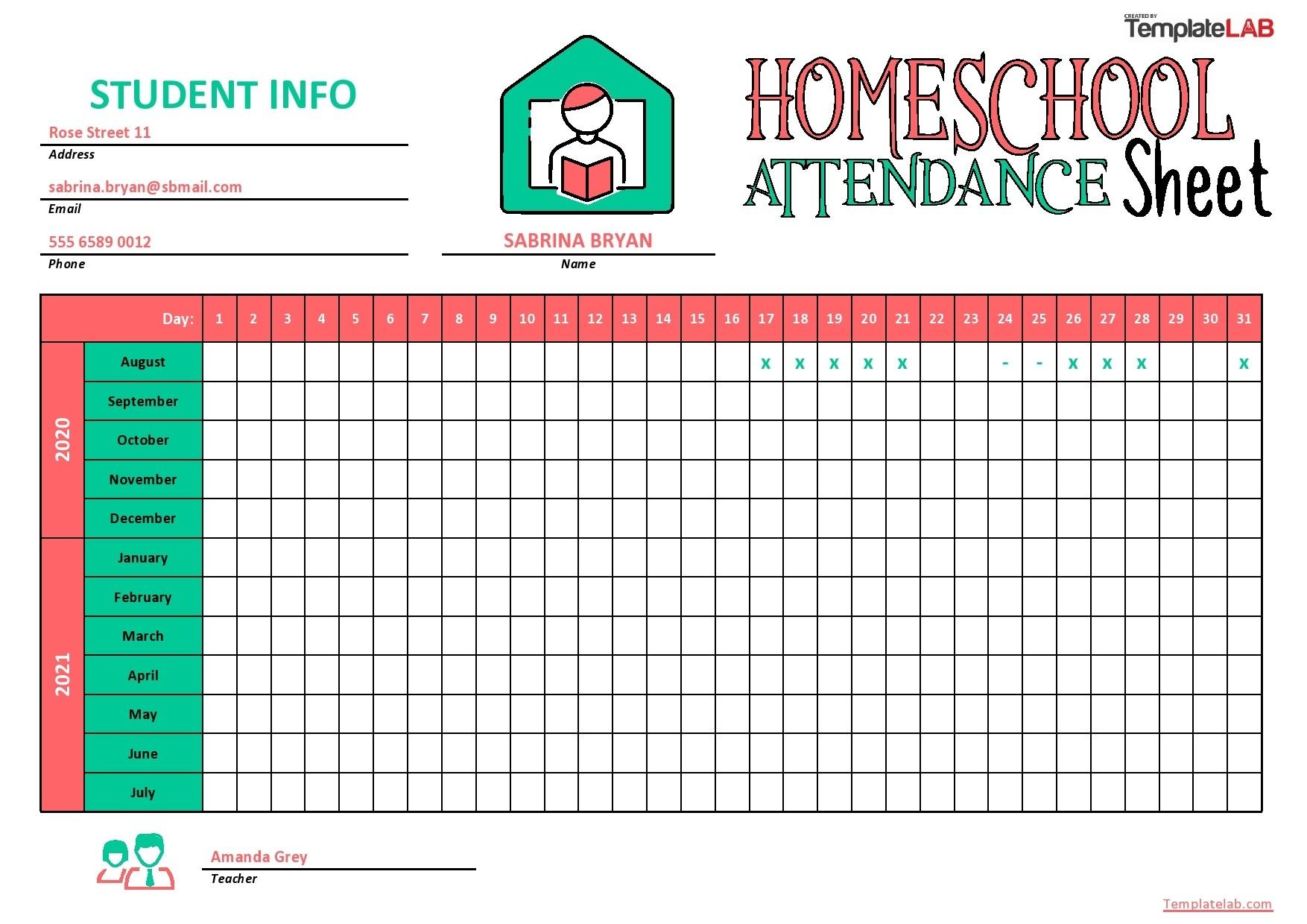 43 Free Printable Attendance Sheet Templates - Templatelab-Attendance Sheet Template For 2021