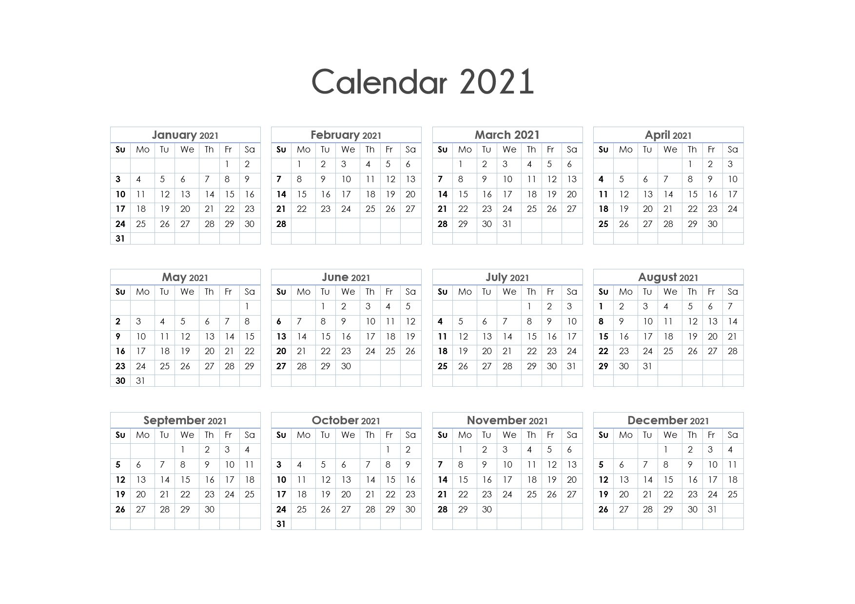 56+ Printable Calendar 2021 One Page, Us 2021 Calendar-Free Printable Calendar 2021 Without Download