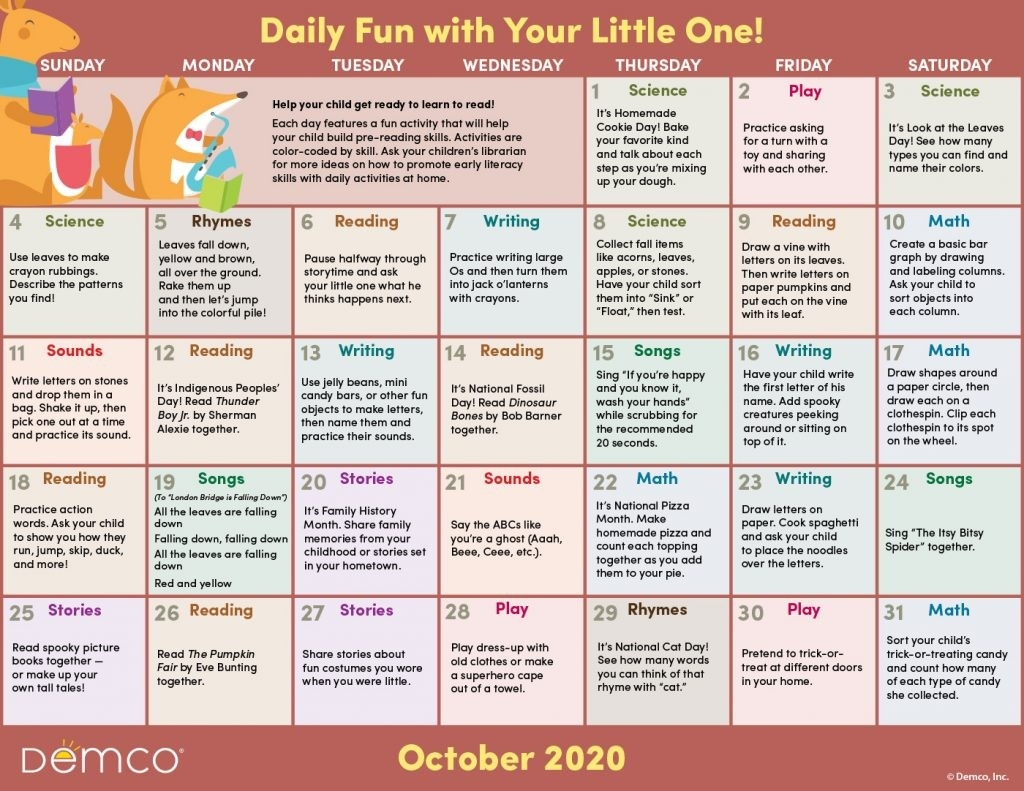 Activity Calendar Archives - Ideas & Inspiration From Demco-Activity Calendar 2021 To Fill In