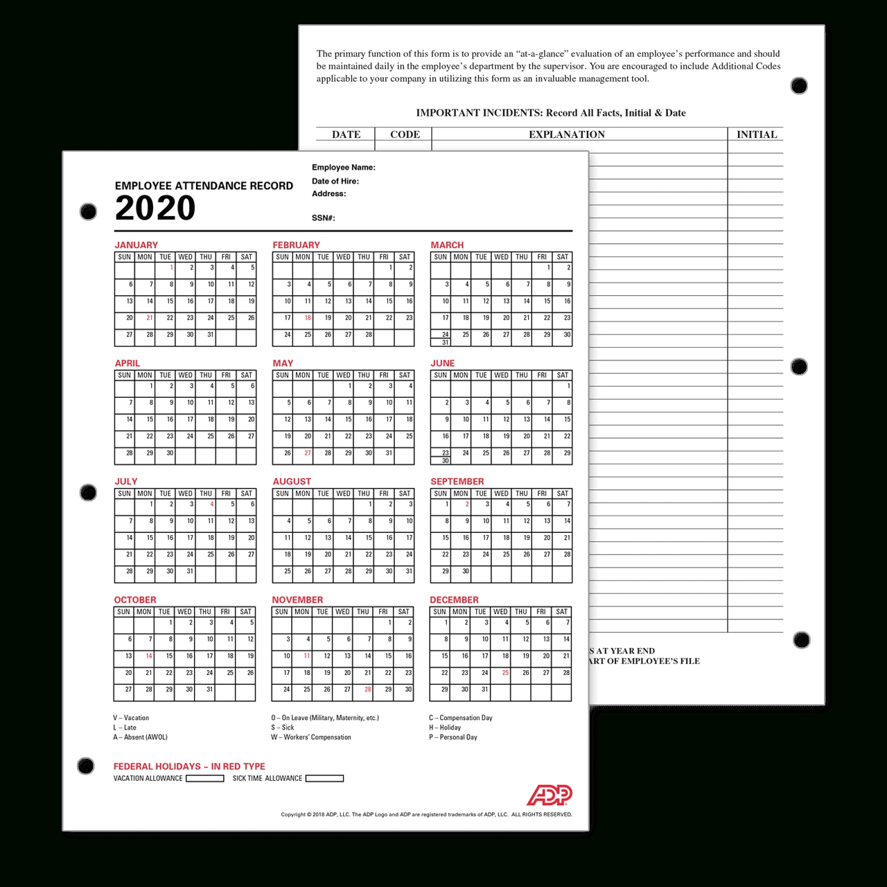 Adp Employee Attendance Record / Calendar-2021 Printable Attendance Tracker