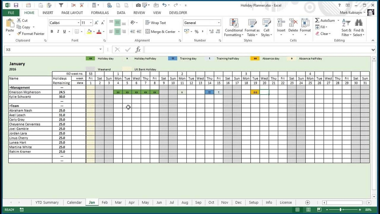 Any Year Holiday, Training & Absence Planner For Excel-Employees Vacation Planner 2021