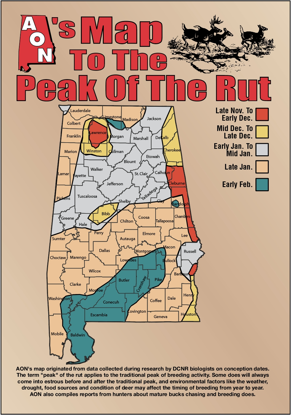 Aon'S Map To The Peak Of The Rut-Alabama Rut Map 2021
