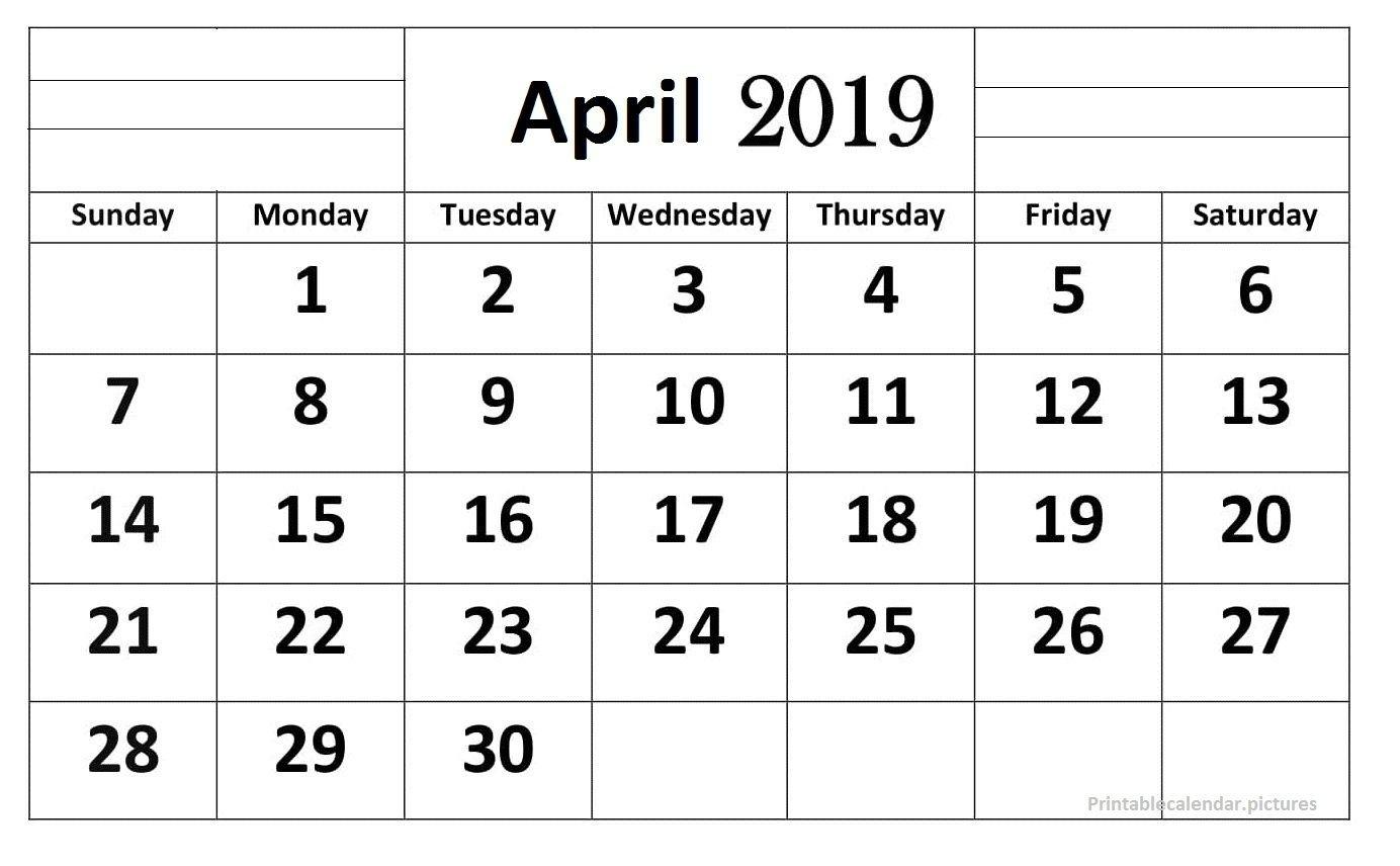 April 2019 Calendar Printable Large Print   Printable-Printable Calendars Large Numbers