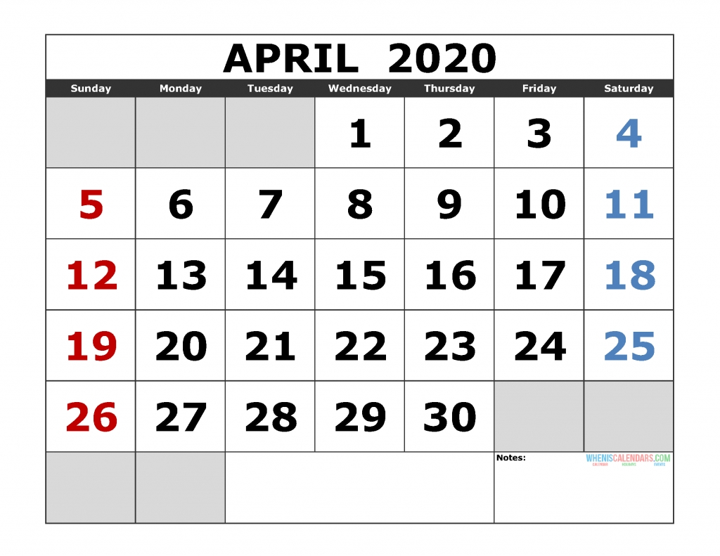 April 2020 Printable Calendar Template Excel, Pdf, Image [Us-Printable Calendars Large Numbers