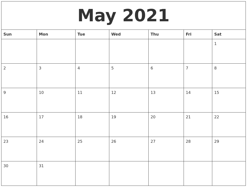 April 2021 Blank Monthly Calendar Template-Monthly Calendar Sheets 2021